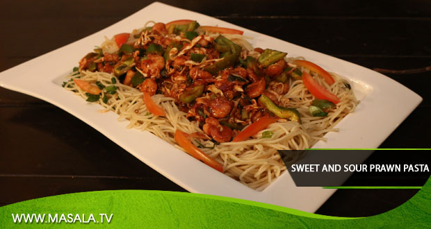 Sweet and Sour Prawn Pasta By Rida Aftab