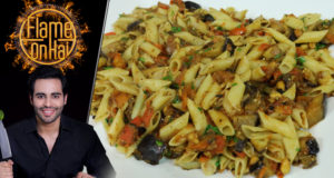 Pasta With Aubergines & Peanuts Recipe by Chef Basim Akhund