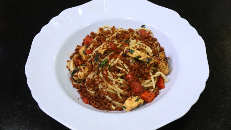Chicken Spaghetti with Crispy Crumbs