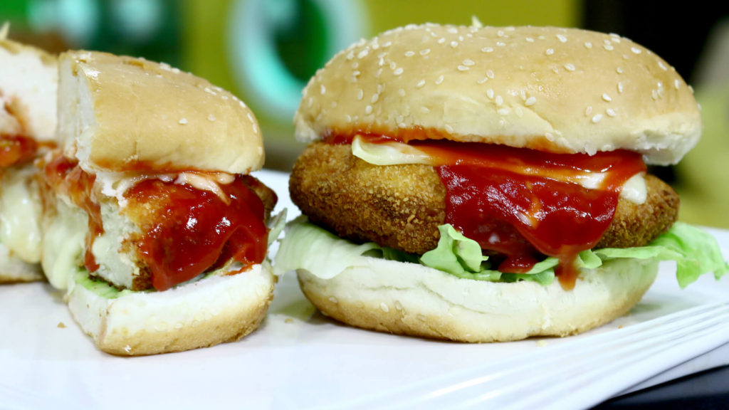 Stuffed Cheese Chicken Burger Recipe | Flame On Hai