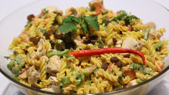 Bombay Chicken Pasta Salad Recipe | Tarka