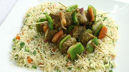 Beef Shashlik with Dhuwa Rice Recipe | Flame On Hai
