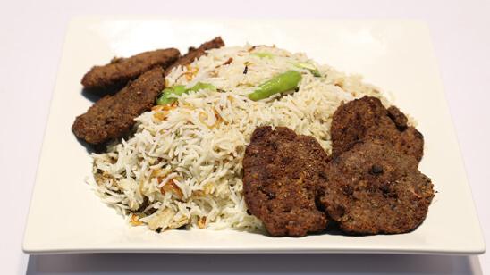 White Biryani with Chapli Kabab Recipe