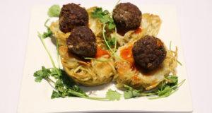 Spaghetti Nests with Meatballs Recipe | Dawat