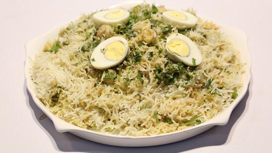 Haryali Jheenga Biryani Recipe   Lazzat