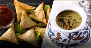 Macaroni samosa & Peanuts cilantro chutney | Quick Recipes