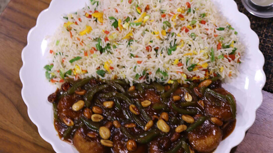 Nuggets Kung Pao with Fried Rice Recipe   Flame On Hai