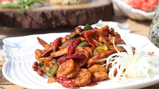 Prawns Chili Dry With Vegetable Recipe | Lazzat