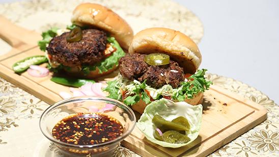 Spicy Beef Burger Recipe | Dawat