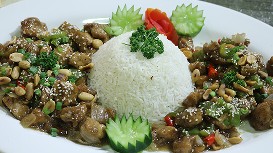 Kung Pao Chicken With Garlic Rice Recipe | Lively Weekends