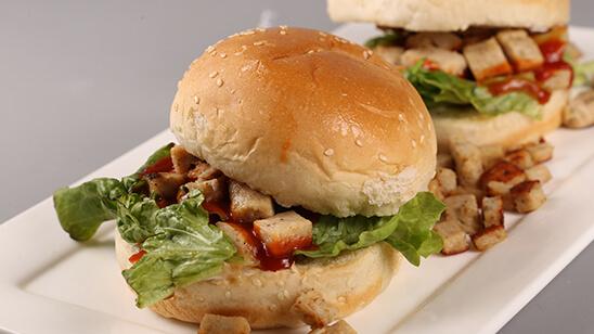 Chicken Chunks Burger Recipe | Tarka
