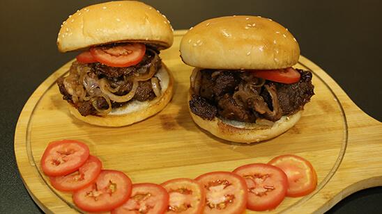 Sticky Crispy Beef Burger Recipe | Dawat