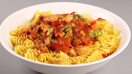 Chicken Chili Pasta Recipe | Tarka