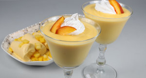 Cream Peach Pudding Recipe | Lazzat