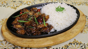 Mongolian Chicken With Rice Recipe   Flame On Hai