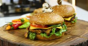 Cheesy Peri Chicken Burgers Recipe | Lazzat