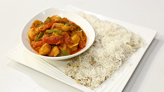 Fish Jalfrezi with Mushroom Rice Recipe | Flame On Hai